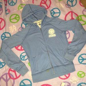 VS Pink blue hoodie. VGUC sz M. Peace love Pink